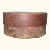 19th Century 7 Inch Round Bent Wood 2 Finger Pantry Box Original Red Wash