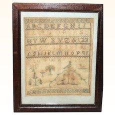 8 Inch Early 19th Century Mid Atlantic Quaker Sampler