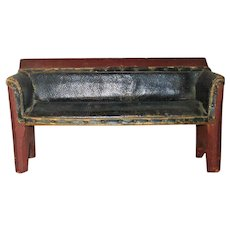11 Inch Folk Art Early 19th Century Wood Miniature Sofa Ox Blood  Paint Leather Upholstery