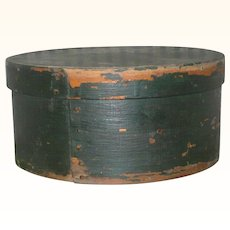 7.5 Inch 19th Century Lapped Bent Wood Pantry Box Windsor Green Paint