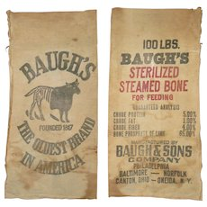 19th Century Printed Heavy Cotton Baugh's and Sons Steamed Bone Bag