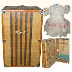 Muneca Marilu 1930's Steamer Trunk with Dresses &  Accessories