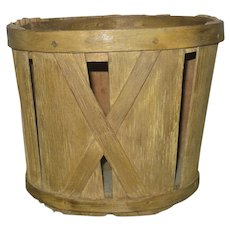 Old 5.5 Inch NJ Splint Produce Basket Solid Wood Bottom Lapped Rim X Supports Old Mustard Paint