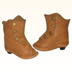 19th Century 2.75 Inch Saddle Kid Doll  Boots with Buttons and Heels