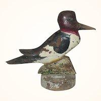 Old 7 Inch Primitive NJ Folk Art Carved Wood Bird Flag Pole Topper