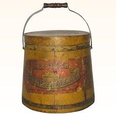 19th C Keystone Mince Meat 20Lb Firkin Original Mustard Paint and Label