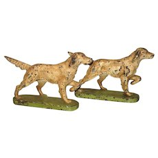 PR 7.5 Inch Long Cast Iron Pointer Dog Book Ends Original Paint Wear No Repaint