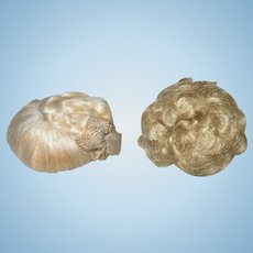 2 Tiny Old Doll House Doll Wigs Braided Blond Original Ribbons Curly Gold Blond