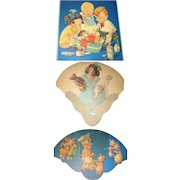 3 Lithographed Cardboard Advertising Fans with Children Dolls Bears Animals
