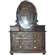 19th Century Folk Art Doll Size Empire Bureau Mirror 3 Drawers Glove Boxes