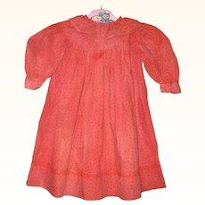 18.5 Inch 1890 Black on Red Roller Print Linen Dress for Primitive Cloth Doll