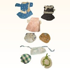 17 Edwardian Pieces for 5-6 Inch All Bisque Dolls  Dresses  Hats  Coats
