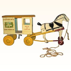 Rich Toy 1930's Borden's Milk and Cream Delivery Wagon and Horse