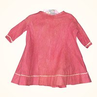 16 Inch Plain and Simple 19th Century Hand Stitched Double Strawberry Calico Dress for Cloth China or Papier-Mache Doll