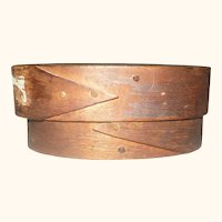 19th Century 3.5 Inch Bent Wood 2 Finger Oval Box Traces Old Black Paint