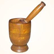 "2.25"" Miniature 19th Century Treen Mortar with Original Pestle"