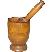 "2.25"" Miniature 19th Century Treen Mortar with Original Pestle"