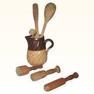 """3.25"""" Toy Yellow Ware Milk Pitcher and 6 Old Toy Wood Stirrers and Mashers"""