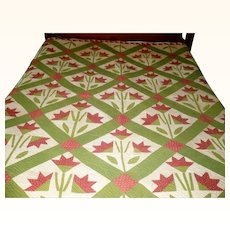 1840's Turkey Red & Green Applique and Pieced Carolina Lily Quilt