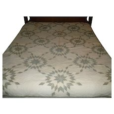 1840's-1850's Pennsylvania Quaker Touching Star Pieced Quilt