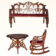 Victorian Folk Art Fret Work Miniature Settee Rocking Chair and Table