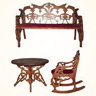 Victorian Folk Art Fret Work Miniature Settee Rocking Chair and Table