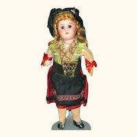 8.5 Inch Bisque Head SFBJ 60 Original Alsace Costume Closed Mouth