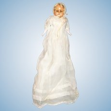 10 Inch Wax Over Comp S H Blue Glass Eyes Long Baby Gown Costume