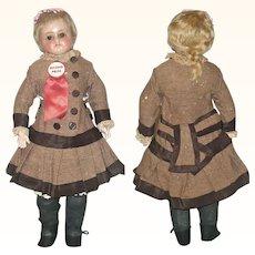 17 Inch Reinforced Wax Turned SH Girl Blond Wig Brown Glass Eyes Great Kid Body