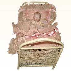 4.5 Inch All Bisque Girl Baby Bye-Lo with Label in Presentation Crib and Bedding