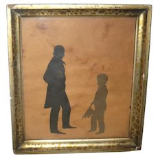 9.5 Inch 19th Century Double Full Figure Silhouette Man and Boy Old Gold Frame