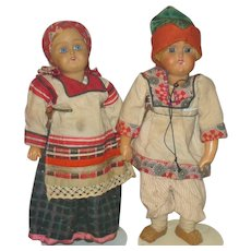 12 Inch Girl and Boy Russian Low Fired Bisque Dolls Traditional Costumes