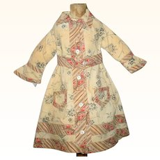 The Best 19th Century Hand Stitched Roller Printed Homespun Linen Doll Wrapper