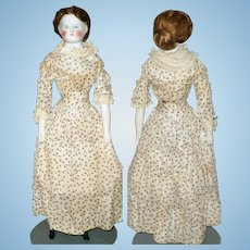 17 Inch 1870's Bisque Bald Head SH Lady Original Body and Limbs