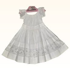 1850-60's White Hand Stitched Dress Tucks Eyelet Draw String Neck Line for Large Papier Mache