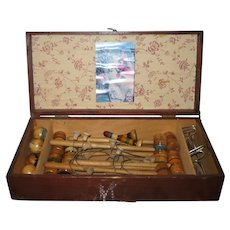 19th Century Toy Table Top Croquet Set in Wood Case
