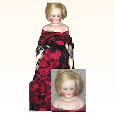 12 Inch Bisque Shoulder Head Doll Closed Mouth Blue Sleep Eyes