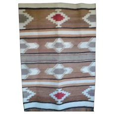 Old 50 Inch Banded Stepped Diamond Wool Navaho Rug Color Variations Lazy Lines