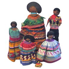 6 Old Seminole Dolls in Patch Work Costumes