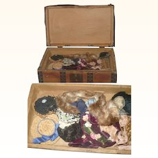 Tiny Edwardian Clothes for All Bisque Doll 8 Hats 2 Dresses + 13 Other Pieces  in Trunk