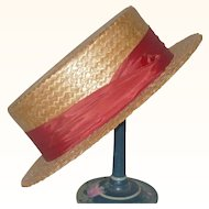 1920's Custom Made Straw Boater Wine Band