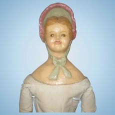 Scarce 24 Inch Wax Over Composition Bonnet Head Kid Fashion Body Project Doll