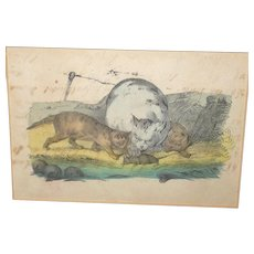 19th Century Pen and Water Color Study of a Cat 2 Kittens and Rat