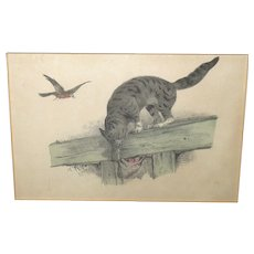 19th Century Ink and Water Color Study of Gray Cat Trying to Rob Bird Nest Oh My!