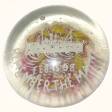 Old Millville Frit Motto Paperweight Remember The Maine .