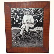 NJ Toddler Boy on  19th Century 3 Wheel Tiller and Treadle Tricycle