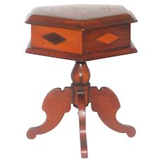 Folk Art 19th Century Miniature Inlaid Veneer Game or Sewing Table