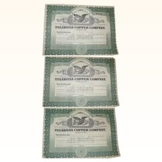 Three 1915 Tularosa Copper Mining Company Stock Certificates One Has Transfer Stamps