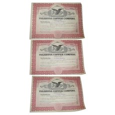 Three 1914 Stock Certificates  from Tularosa Copper Mining Company