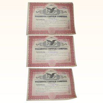 Three 1914 Stock Certificates  from Tularosa Copper Mining Company